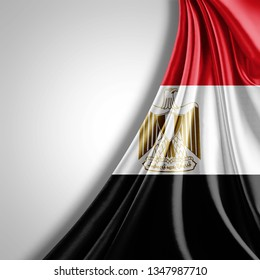 Egypt flag of silk with copyspace for your text or images and White background-3D illustration