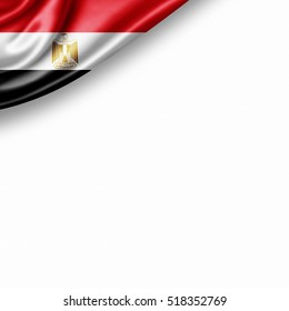 Egypt flag of silk with copyspace for your text or images and white background -3D illustration