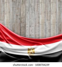 Egypt flag of silk and wood background -3D illustration