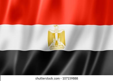 Egypt flag, three dimensional render, satin texture