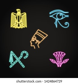 Egypt icons set in neon line style. Traditional country symbols with national Eagle emblem, eye of Ra, Nefertiti.
