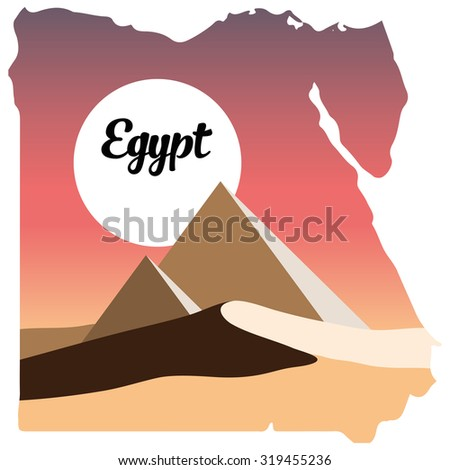 Pyramids In Egypt Map.Egypt Logo Egypt Map Desert Pyramids Stock Illustration 319455236