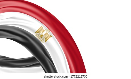 Egypt National Flag Isolated on white background with copy space. 3D illustration