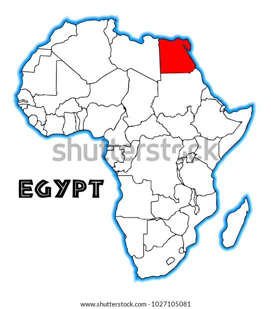 Egypt On Map Of Africa Egypt Outline Inset Into Map Africa Stock Illustration 1027105081