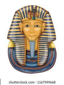 Egypt pharaoh Tutankhamen / golden mask / illustration with shadows and highlights
