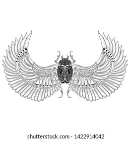 Egypt scarab with wings tattoo