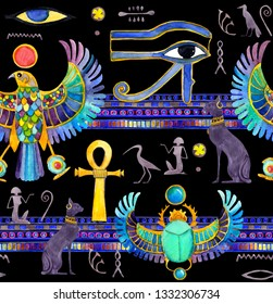 Egypt seamless pattern - Egyptian decoration - animals, symbols: falcon, ankh, eye, scarab beetle with wings, others. Watercolor on black background