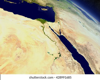 Egypt with surrounding region as seen from Earth's orbit in space. 3D illustration with highly detailed realistic planet surface and clouds in the atmosphere. Elements of this image furnished by NASA.