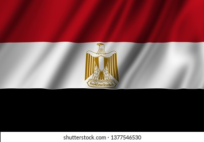 Egypt waving flag illustration. Countries of Africa. Perfect for background and texture usage.