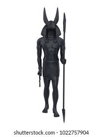 Egyptian Anubis Statue Isolated. 3D rendering