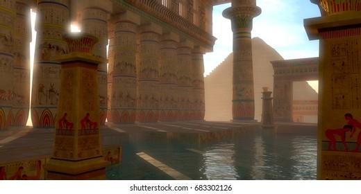 Egyptian Bath 3d illustration - Egyptian hieroglyphs adorn the walls, arches and pillars of this Egyptian bath on the Gisa Plateau near the Great Pyramids.