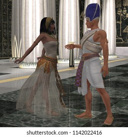 Egyptian Couple 3D illustration - Beautiful Pharaoh's wife dances for him in the throne room full of pillars of Egypt's Old Kingdom.