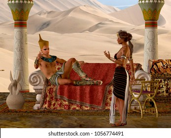 Egyptian Couple with Bench 3D Illustration - The Egyptian Pharaoh and his wife have a discussion about everyday matters in their kingdom.