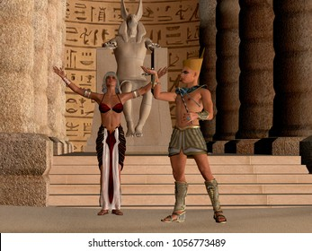 Egyptian Couple in Temple 3D Illustration - The Egyptian Pharaoh and his wife worship and pray to their God called Anubis in their dynasty temple.