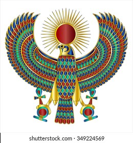 Egyptian Falcon Broach Large W/ Metal Gradients