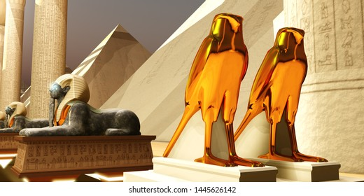 Egyptian Falcons 3D illustration - The Falcon statues represent the Egyptian god Horus as the protector and ruler of Egypt's dynasty.