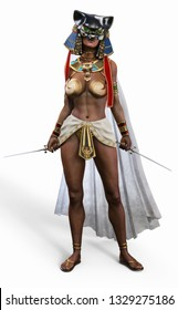 Egyptian female deadly assassin posing on a isolated white background. 3d rendering