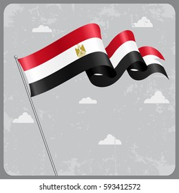 Egyptian flag wavy abstract background. Raster version.