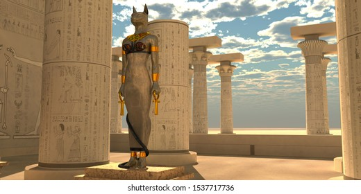 Egyptian God Bastet Statue 3D illustration - Bastet was an Egyptian goddess that was a lioness warrior and worshipped in the Old Kingdom.