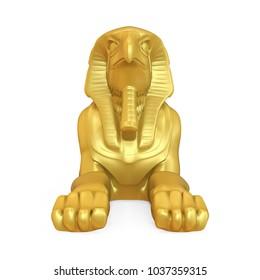 Egyptian God Horus Golden Statue Isolated. 3D rendering