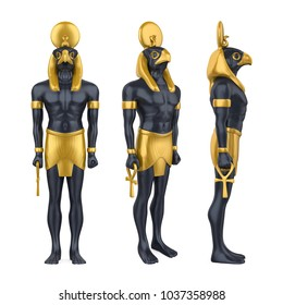 Egyptian God Horus Statue Isolated. 3D rendering