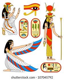 Egyptian goddess Isis. Rasterized version of vector illustration