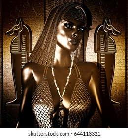 Egyptian Goddess Queen in gold and bronze with braided hair and statues. The beauty, power, seduction and mystery of Egypt are all captured here in our custom 3d digital art render.