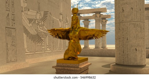 Egyptian Isis Statue 3D illustration - An Isis statue in the Temple of Isis which is part of the religion of ancient Egyptian civilization.