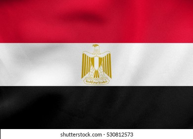 Egyptian national official flag. Arab Republic of Egypt patriotic symbol, banner, element, background. Correct colors. Flag of Egypt waving in the wind, real detailed fabric texture. 3D illustration