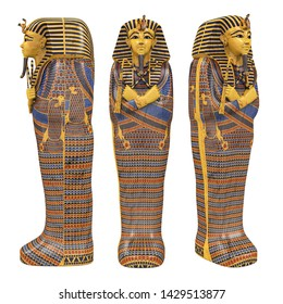 Egyptian Pharaoh Mummy Coffin Isolated. 3D rendering