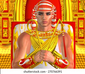 Egyptian Pharaoh Ramses close up throne, a fantasy digital art version of an ancient Egyptian king. Gold and red background exudes the wealth and power of Egypt,use for King Tut, Ramses II or others.