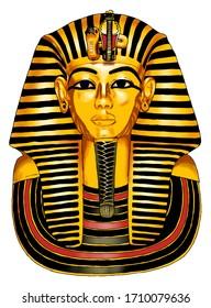Egyptian Pharaoh Tutankhamen, mask illustration