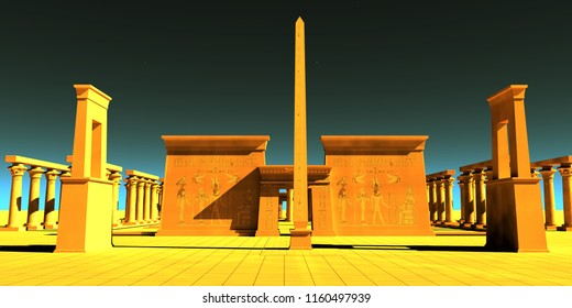 Egyptian Pharaonic Temple 3D illustration - A tall obelisk towers in front of a temple to honor the gods and goddesses of Egyptian culture.