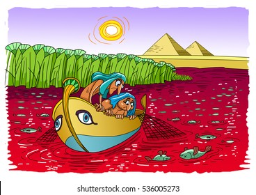 Egyptian plague: water in the river turned to blood