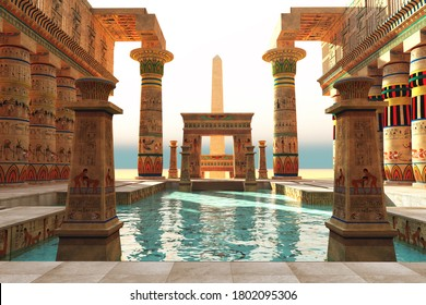 Egyptian Pool with Obelisk 3d illustration - Ornate Egyptian architecture with hieroglyphs surround a pool in historical Egypt with an obelisk standing guard.