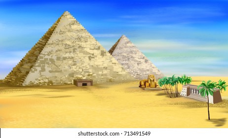 The Egyptian pyramids with entrance and ancient castle. Digital painting background, Illustration in cartoon style character.