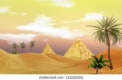 Egyptian pyramids landscape 3D CG illustration