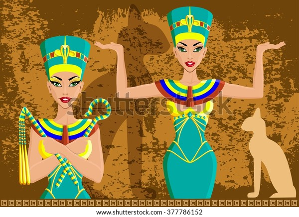Egyptian Queen Nefertiti On Stone Background Stock Illustration