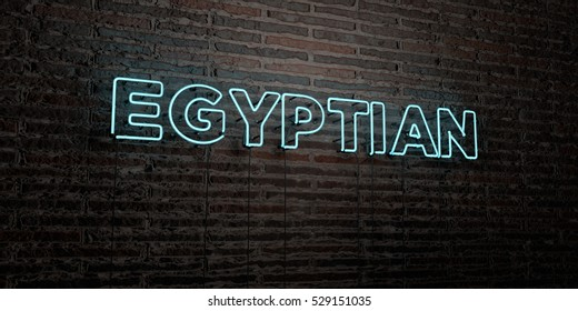 EGYPTIAN -Realistic Neon Sign on Brick Wall background - 3D rendered royalty free stock image. Can be used for online banner ads and direct mailers.