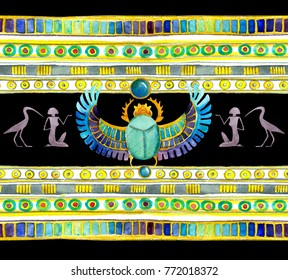 Egyptian scarab beetle with wings and decorative ornament of Egypt. Seamless pattern. Watercolor