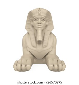 Egyptian Sphinx Statue Isolated. 3D rendering