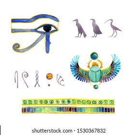 Egyptian symbols watercolor illustrations set. Traditional pharaoh decorative elements, ornament isolated on white background. Sacred birds, Horus eye, scarab beetle aquarelle drawings pack
