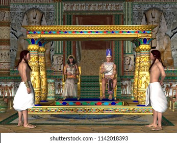 Egyptian Throne Room 3D illustration - The Egyptian Pharaoh and his Queen sit on the throne in the Old Kingdom of Egypt's history.