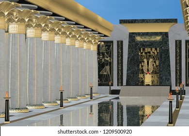Egyptian Throne Room 3D illustration - A room with a highly reflective tiled floor has Egyptian hieroglyphs on the walls surrounding the pharaoh's throne.