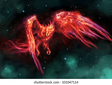 egyption phoenix the  burning bird