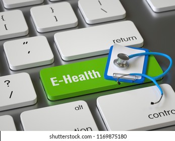 E-Health key on the keyboard, 3d rendering,conceptual image.