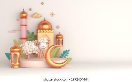 Eid al adha islamic decoration display podium background with goat sheep lantern crescent mosque, ramadan kareem, mawlid, eid al fitr, muharram, copy space text area, 3D illustration.