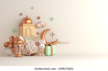 Eid al adha islamic decoration background with goat sheep arabic lantern crescent, gift box, ramadan kareem, mawlid, iftar, isra  miraj, eid al fitr, muharram, copy space text area, 3D illustration.