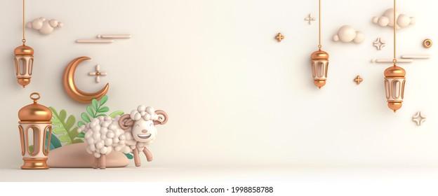 Eid al adha islamic decoration background with goat sheep arabic lantern crescent, ramadan kareem, mawlid, iftar, isra  miraj, eid al fitr, muharram, wide copy space text area, 3D illustration.