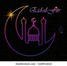 Eid Al Fitr greeting card with line mosque dome, moon and lantern. Eid Mubarak. Raster illustration on black background.